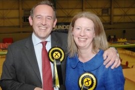 STEWART HOSIE winner of Dundee East with wife and Scottish Minister SHONA ROBISON